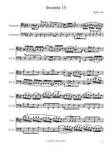 No.15 in B Minor, BWV 786: para dois violoncelo by Johann Sebastian Bach