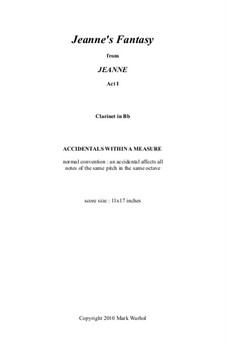 Jeanne: Jeanne's Fantasy – сlarinet part by Mark Warhol