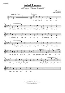 O mio babbino caro: For soprano and string quartet - parts by Giacomo Puccini