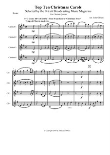 Christmas Tree, S.186: No.4 O Come All Ye Faithful, for clarinet quartet by Franz Liszt