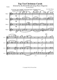 Christmas Tree, S.186: No.4 O Come All Ye Faithful, for flute quartet by Franz Liszt