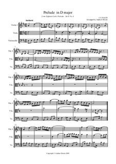 Six Little Preludes, BWV 933-938: No.4 in D major, for string trio by Johann Sebastian Bach
