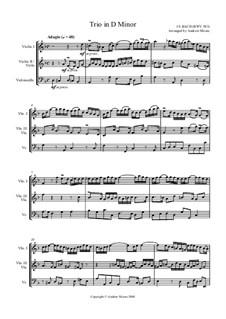 Trio in D Minor, BWV 583: para cordas by Johann Sebastian Bach