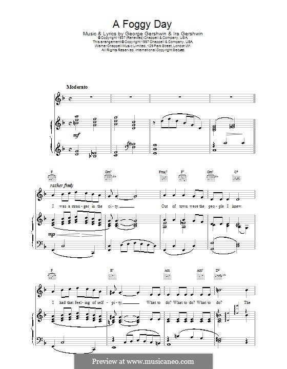 A Foggy Day (In London Town): para voz, guitarra e piano (frank sinatra) by George Gershwin