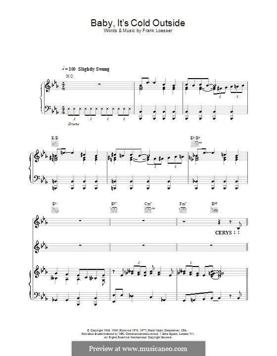 Baby, it's Cold Outside: For voices and piano or guitar (E Flat Major) by Frank Loesser