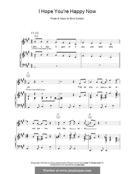 I Hope You're Happy Now: Para vocais e piano (ou Guitarra) by Elvis Costello
