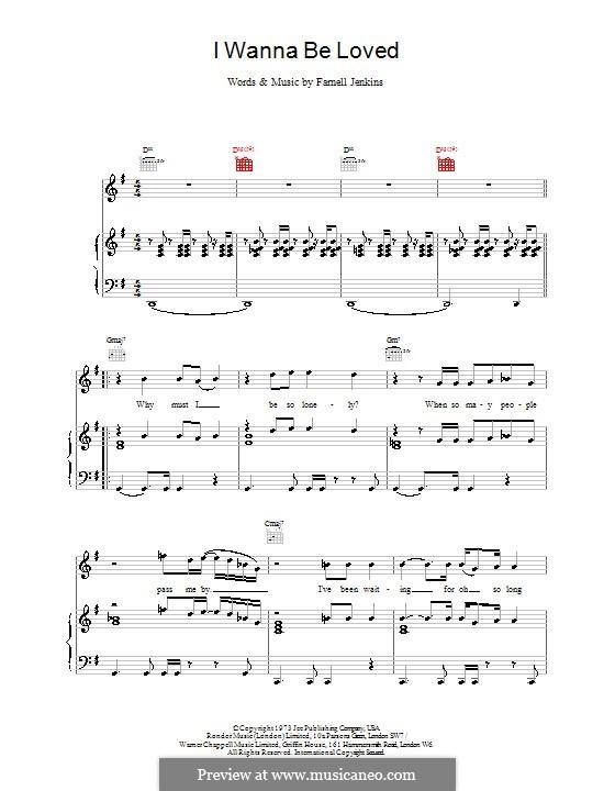 I Wanna Be Loved: Para vocais e piano (ou Guitarra) by Elvis Costello
