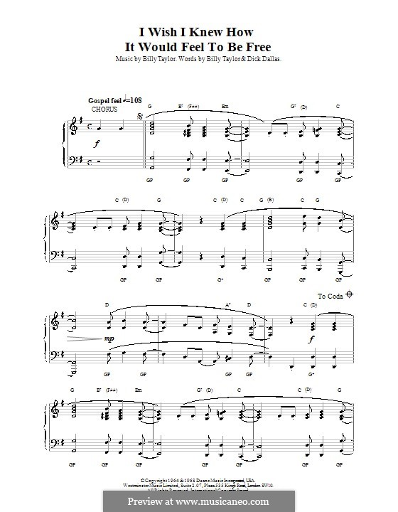 I Wish I Knew How it Would Feel to Be Free: Para Piano by Billy Taylor