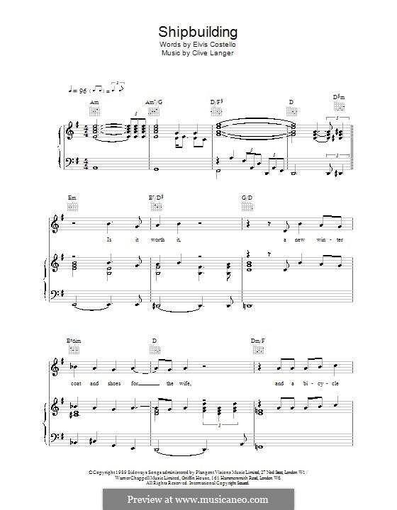 Shipbuilding: Para vocais e piano (ou Guitarra) by Elvis Costello