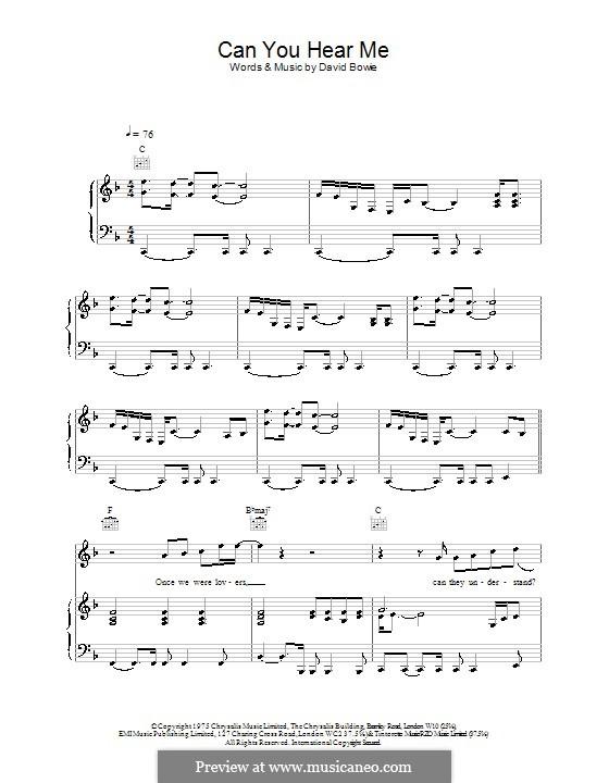 Can You Hear Me: Para vocais e piano (ou Guitarra) by David Bowie