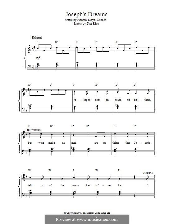 Joseph's Dreams: Para vocais e piano by Andrew Lloyd Webber