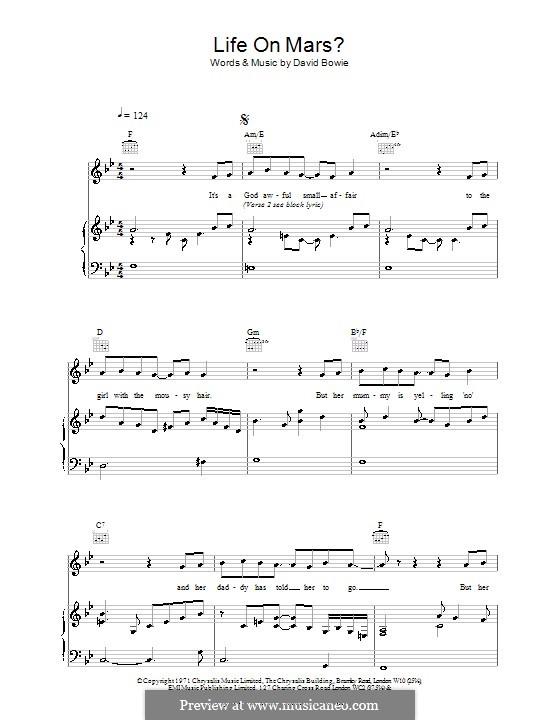Life on Mars?: Para vocais e piano (ou Guitarra) by David Bowie