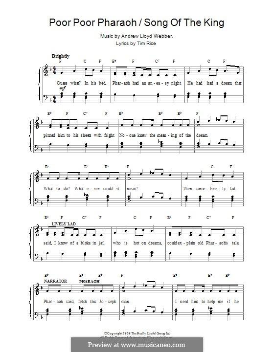 Poor Poor Pharaoh / Song of the King: Para vocais e piano (ou Guitarra) by Andrew Lloyd Webber