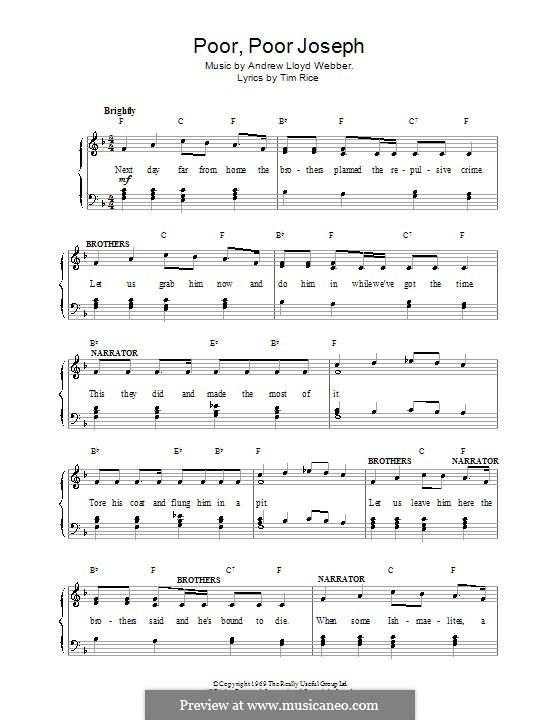 Poor Poor Joseph: Para vocais e piano (ou Guitarra) by Andrew Lloyd Webber