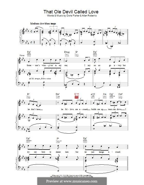 That Ole Devil Called Love (Diana Krall): Para vocais e piano (ou Guitarra) by Allan Roberts, Doris Fisher