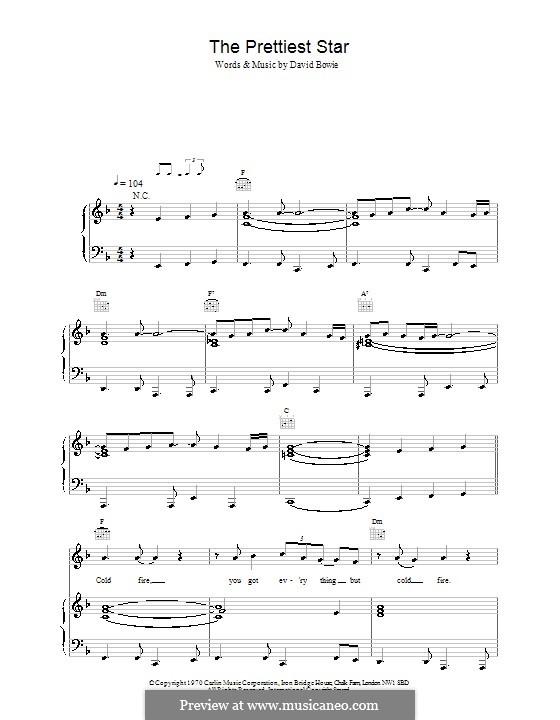 The Prettiest Star: Para vocais e piano (ou Guitarra) by David Bowie