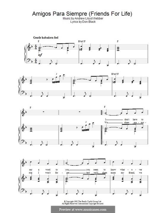 Amigos Para Siempre (Friends for Life): Para vocais e piano (ou Guitarra) by Andrew Lloyd Webber