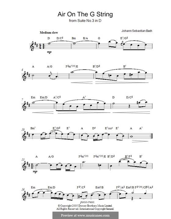 Aria (Printable Scores): Version for voice by Johann Sebastian Bach