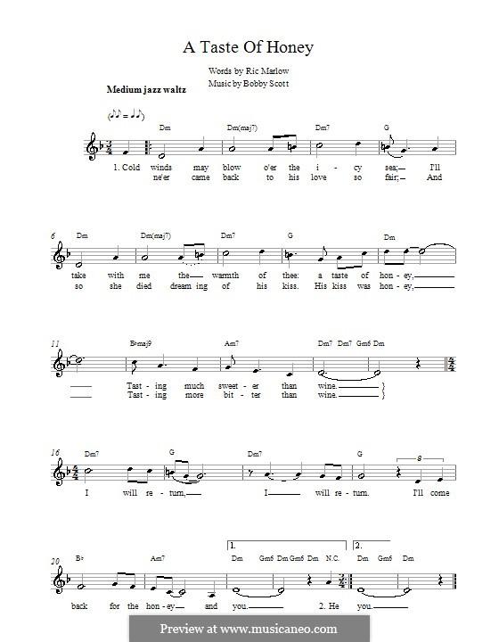 A Taste of Honey (Barbra Streisand): melodía,letras e acordes by Bobby Scott