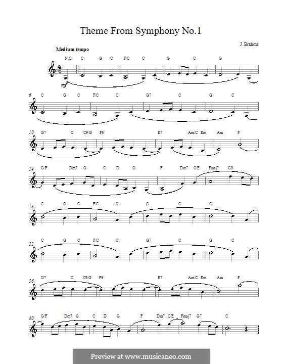 Movement IV: Theme. Melody line, lyrics and chords by Johannes Brahms