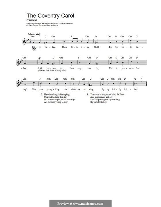 Coventry Carol: melodía,letras e acordes by folklore