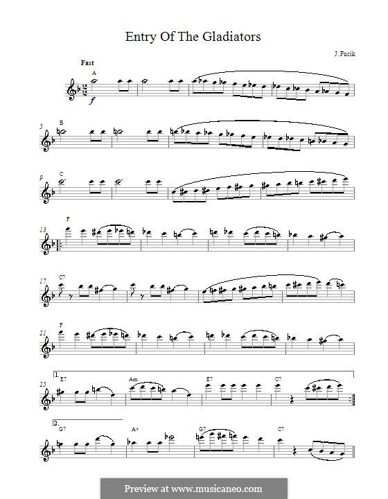 Entrance of the Gladiators, Op.68: melodia by Julius Fučík