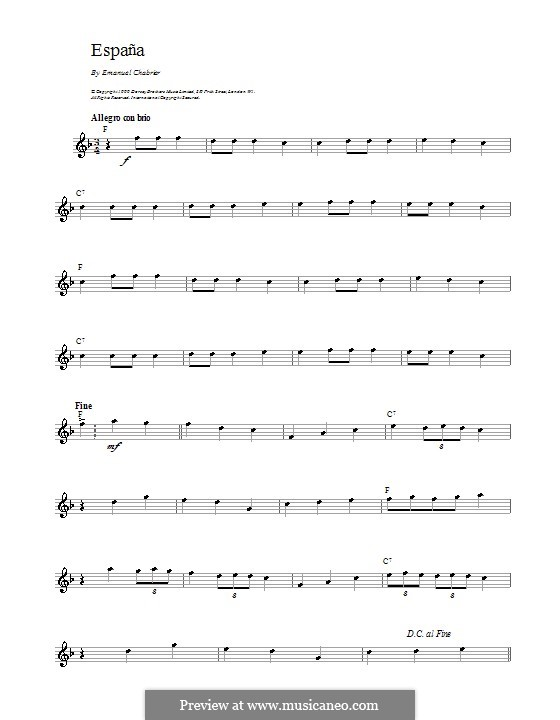 España: Theme. Melody line by Emmanuel Chabrier