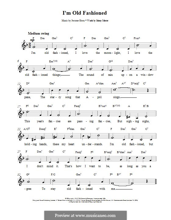 I'm Old Fashioned: melodía,letras e acordes by Jerome Kern