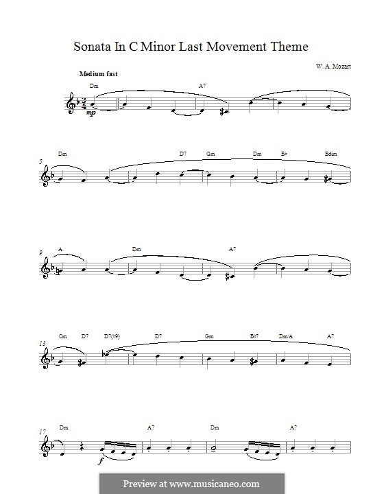 Sonata for Piano No.14 in C Minor, K.457: Movement III. Melody line by Wolfgang Amadeus Mozart