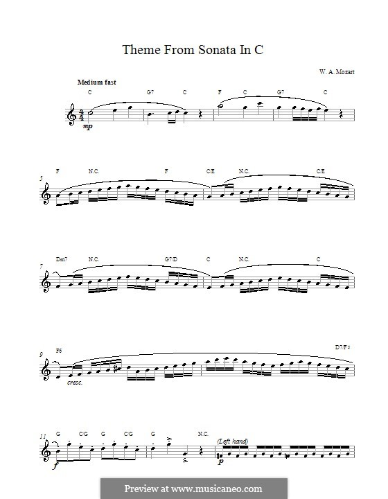 Sonata for Piano No.16 in C Major, K.545: Movement I. Melody line and chords by Wolfgang Amadeus Mozart