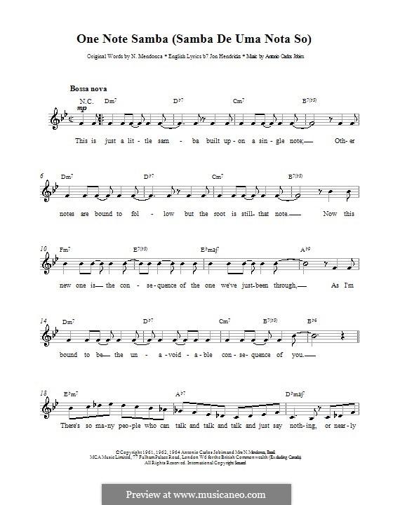 One Note Samba (Samba De Uma Nota): melodía,letras e acordes by Antonio Carlos Jobim