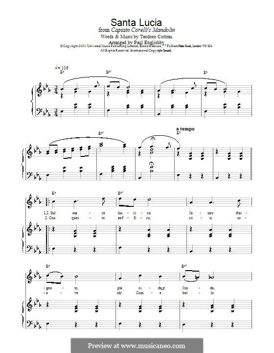 Santa Lucia: Para vocais e piano by folklore