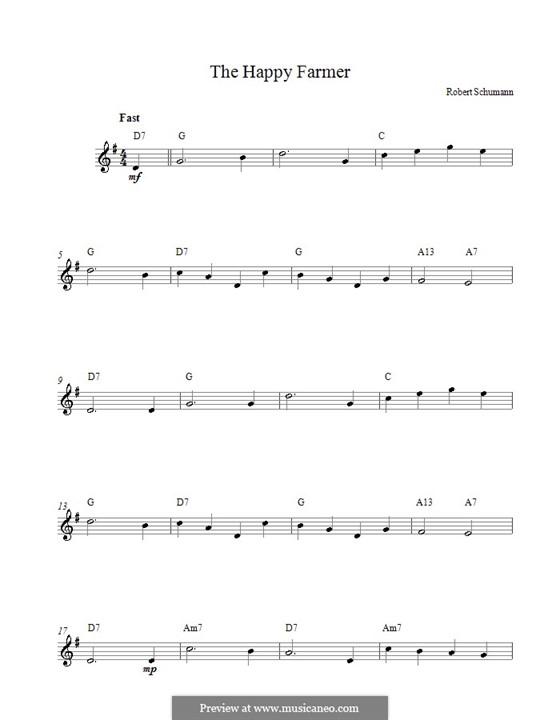 No.10 Fröhlicher Landmann (The Happy Farmer): melodia by Robert Schumann