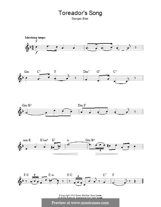 Toreador's Song: melodia by Georges Bizet