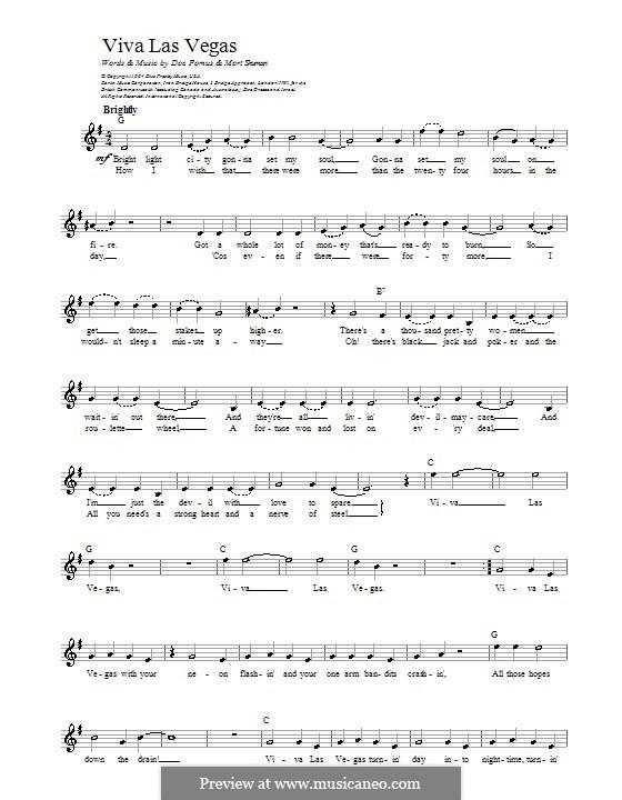 Viva Las Vegas (Elvis Presley): melodía,letras e acordes by Doc Pomus, Mort Shuman