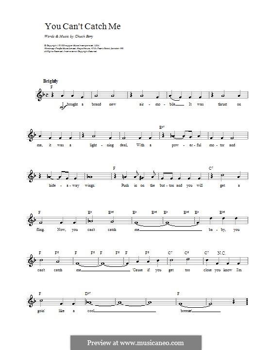 You Can't Catch Me: melodía,letras e acordes by Chuck Berry