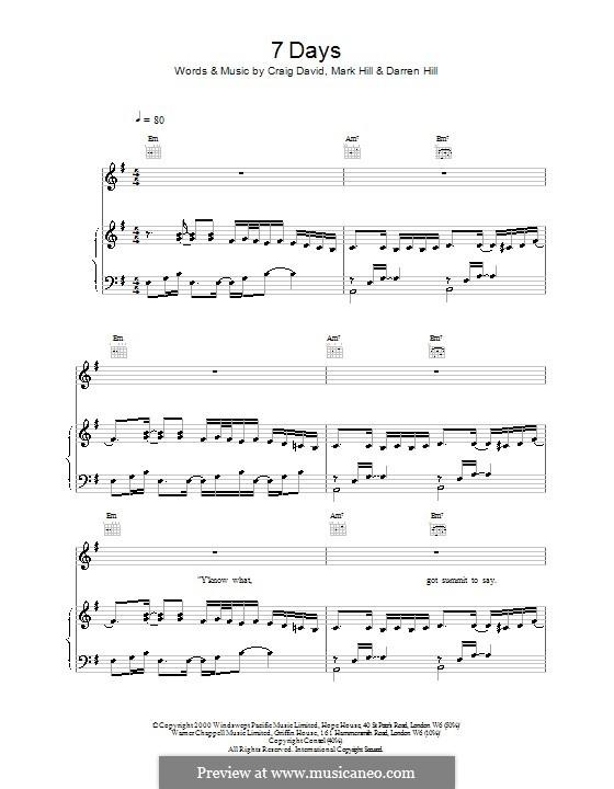 7 Days: Para vocais e piano (ou Guitarra) by Craig David, Darren Hill, Mark Hill