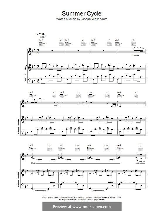 Summer Cycle (Toploader): Para vocais e piano (ou Guitarra) by Joseph Washbourn