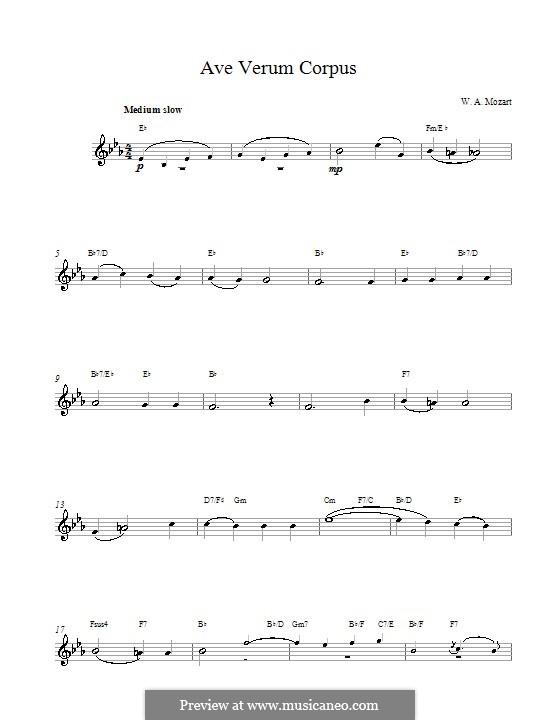 Ave verum corpus (Printabel Scores), K.618: melodia e acordes by Wolfgang Amadeus Mozart