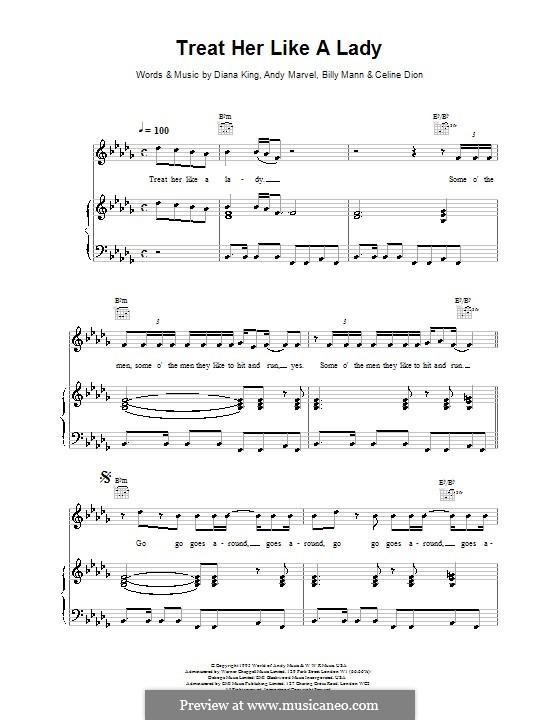 Treat Her Like a Lady: Para vocais e piano (ou Guitarra) by Celine Dion