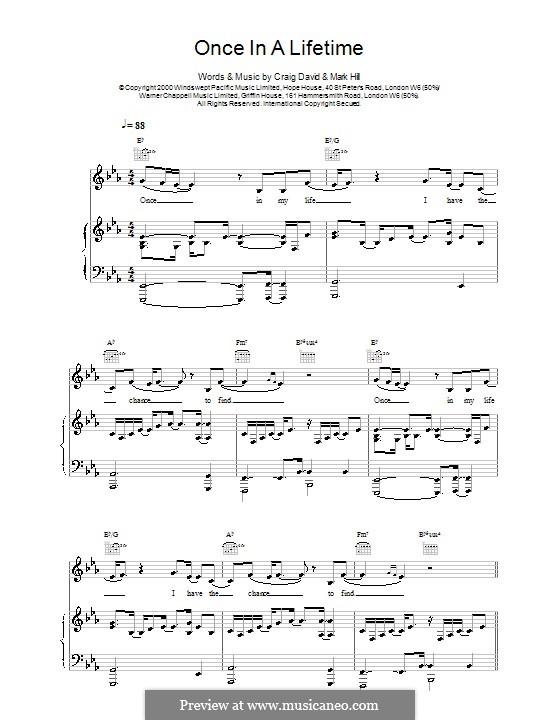 Once in a Lifetime: Para vocais e piano (ou Guitarra) by Craig David