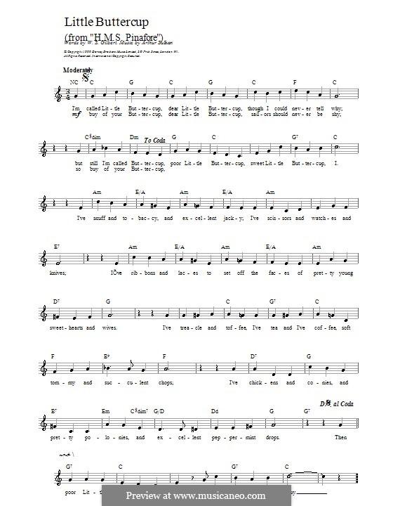 Little Buttercup: melodia by Arthur Seymour Sullivan