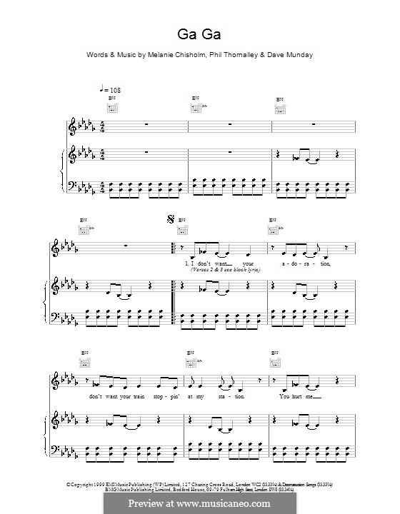 Ga Ga: Para vocais e piano (ou Guitarra) by Melanie C