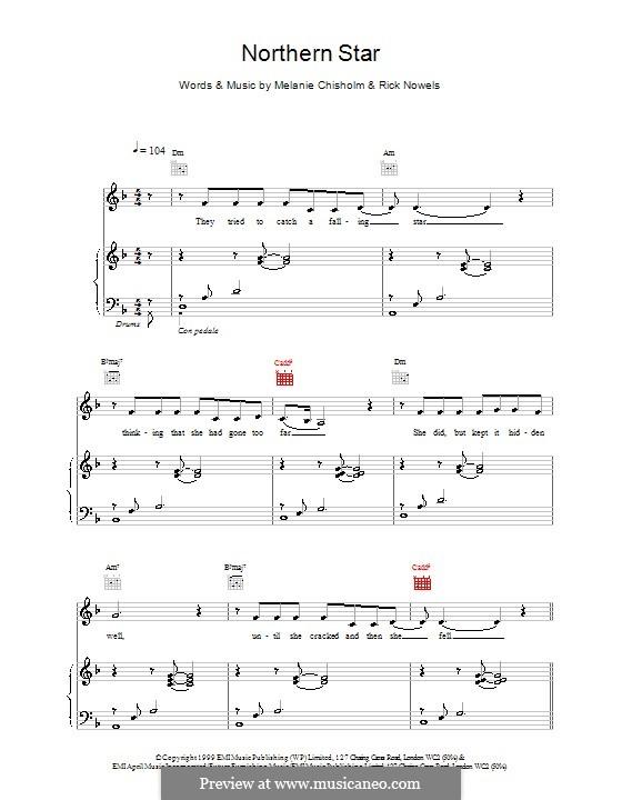 Northern Star: Para vocais e piano (ou Guitarra) by Melanie C