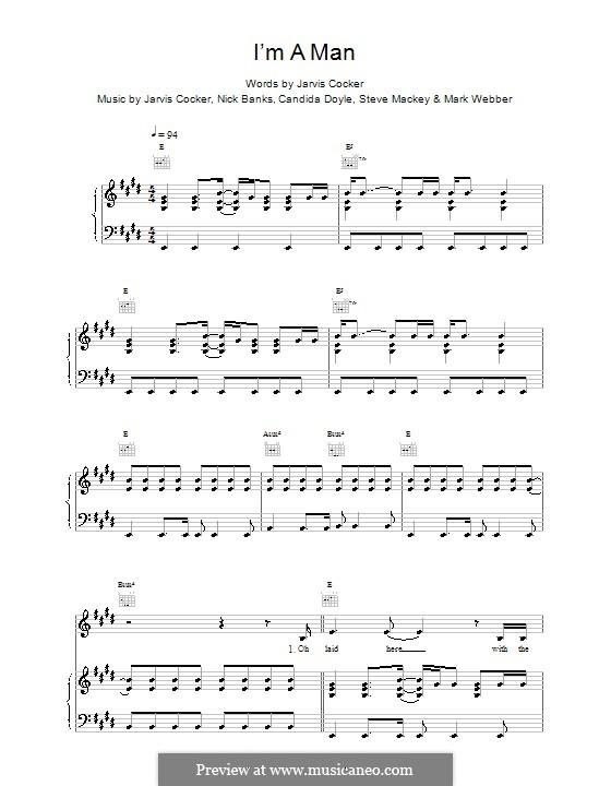 I'm a Man (Pulp): Para vocais e piano (ou Guitarra) by Jarvis Cocker
