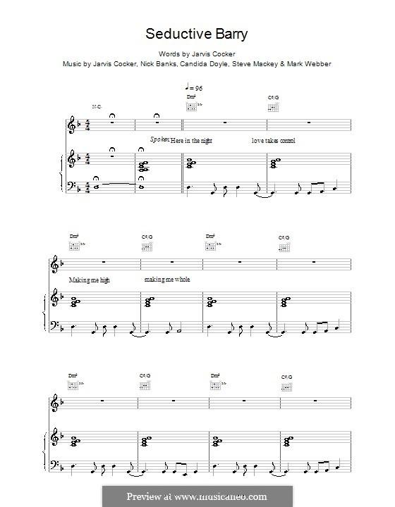 Seductive Barry (Pulp): Para vocais e piano (ou Guitarra) by Jarvis Cocker