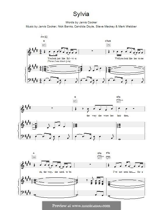 Sylvia (Pulp): Para vocais e piano (ou Guitarra) by Jarvis Cocker