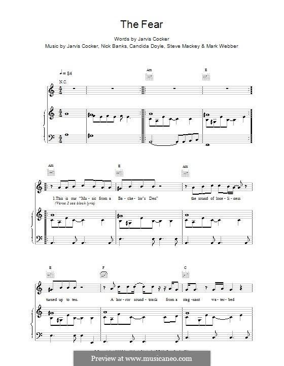 The Fear (Pulp): Para vocais e piano (ou Guitarra) by Jarvis Cocker