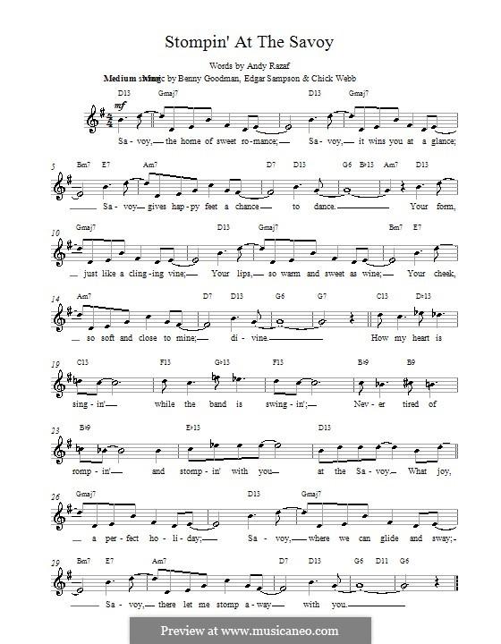 Stompin at the Savoy: melodía,letras e acordes by Benny Goodman, Chick Webb, Edgar Sampson