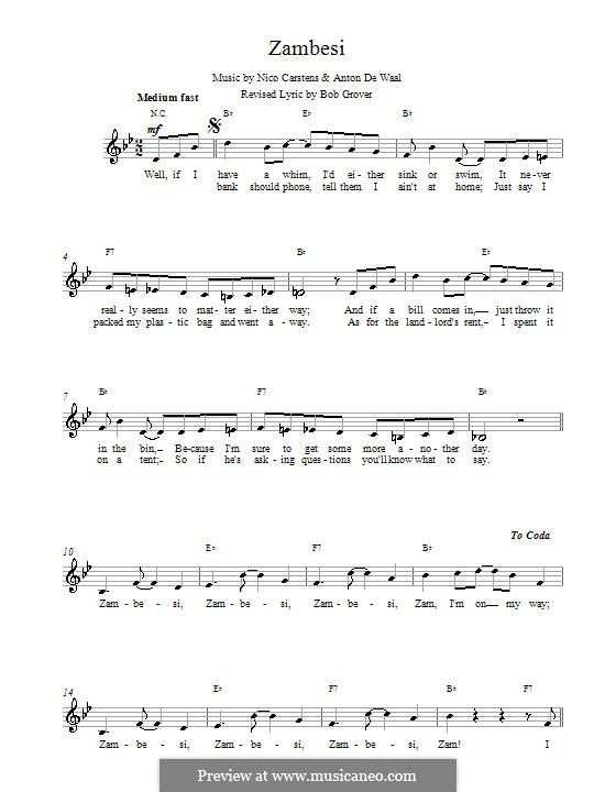 Zambesi: melodía,letras e acordes by Nico Carstens